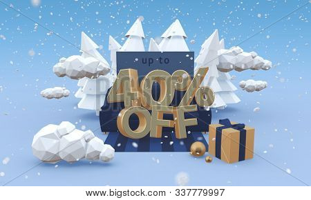 40 Forty Percent Off 3d Illustration In Cartoon Style. Christmas Discount Or Winter Sale Concept.