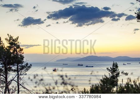 The Ships Are On The Road Near The Port Of Novorossiysk, The Black Sea. Photo Taken From The Steep B