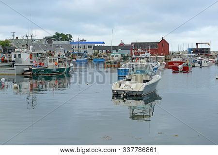 Rockport, Ma, Usa - Jul 25, 2015: Fishing Boat At Port Of Rockport City In Summer, Massachusetts, Us