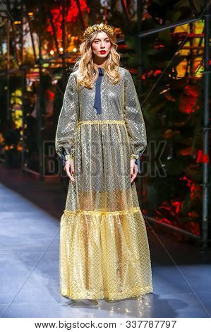 Zagreb, Croatia - October 25, 2019 : A Model Wearing Robert Sever Fashion Collection On The Catwalk
