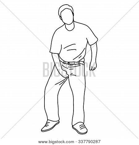 Man Itching Caused By Fungus In The Underwear Vector Illustration Sketch Doodle Hand Drawn With Blac