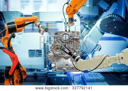 Industrial Robotic Welding, Robot Gripping And Robotic 3d Scan Working With Auto Parts On Smart Fact