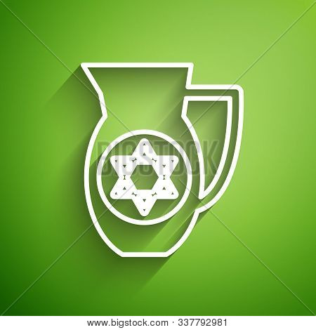 White Line Decanter With Star Of David Icon Isolated On Green Background. Pottery Jug. Organic Produ