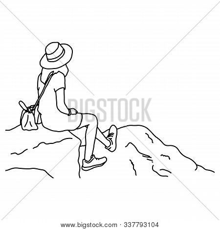 Back View Of Woman With Hat Looking At Copyspace On The Top Of The Mountain Vector Illustration Sket