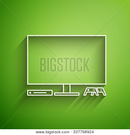 White Line Video Game Console Icon Isolated On Green Background. Game Console With Joystick And Lcd