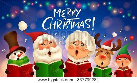 Merry Christmas! Vector Illustration Of Christmas Carol. Choir.