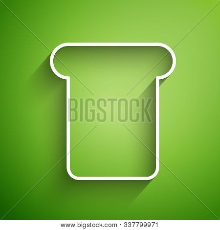 White Line Bread Toast For Sandwich Piece Of Roasted Crouton Icon Isolated On Green Background. Lunc