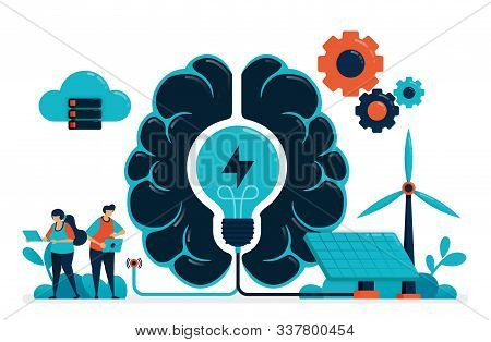 Artificial Intelligence For Smart Green Energy. Artificial Brain Supply Energy Management. Future En