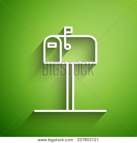 White Line Open Mail Box Icon Isolated On Green Background. Mailbox Icon. Mail Postbox On Pole With