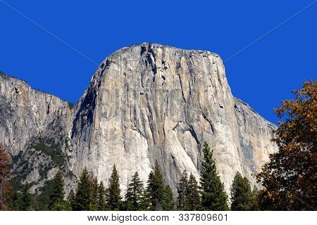 El Capitan Against A Vivid Blue Sky In Yosemite National Park