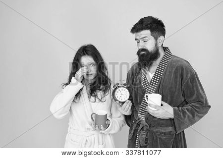 Hard Morning. Sleepy People. Morning Couple Drink Coffee. Bearded Man And Girl Coffee Cup. Wake Up T