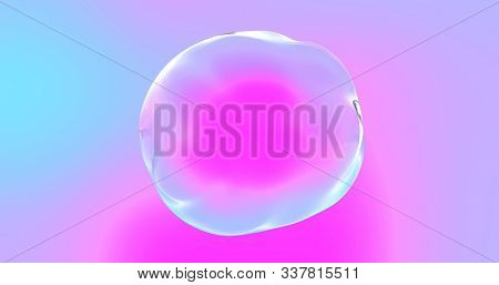 Soap bubble with transparent surface on iridescent color gradient background. Abstract distorted shape sphere or water drop bubble