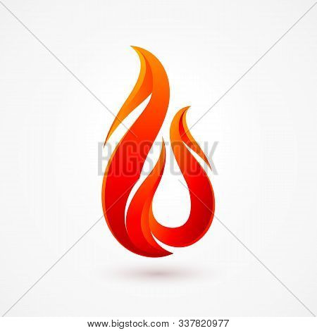 Abstract Fire Flame Logo With Shadow Effects. Fire Ignite With Orange Color Isolated On White Backgr