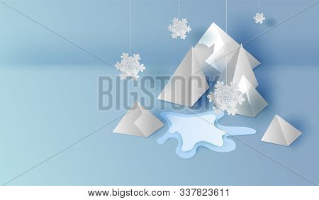 3d On Top View Of Paper Art And Craft Mountains Landscape Scene,snowfall Graphic Design For Winter S