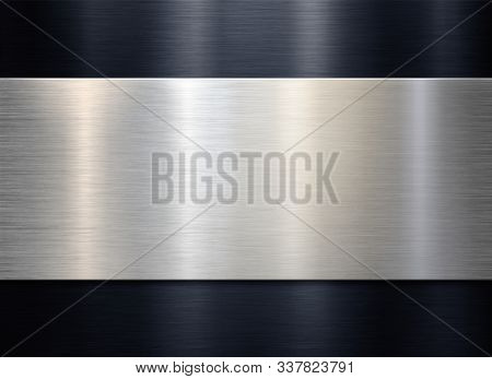 Brushed metal plaque over black background 3d illustration