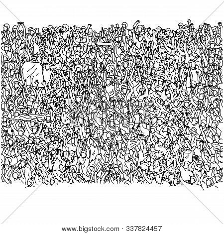 Crowd Of Happy People Cheering On Stadium Vector Illustration Sketch Doodle Hand Drawn With Black Li