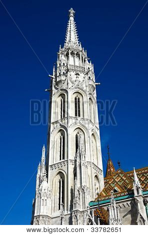 belltower of Matthias Church on Castle Hill in Budapest, officially named the Church of Our Lady