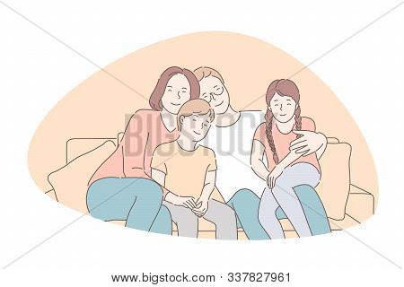 Traditional Values, Bonding, Family Idyll Concept. Parents Spend Time Together With Children, Smilin