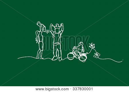 Illustration Happy Family Have Fun With Continuous White Line Drawing Style,draw White Line Of Child