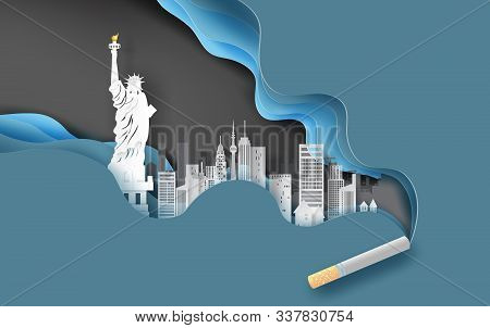 3d Paper Craft And Art Of Cigarette With Cityscape Concept.abstract Curve Wave Blue Background,citys