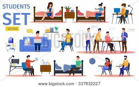 Students In College Dormitory Trendy Flat Vector Isolated Characters Set. Female, Male Students Rest