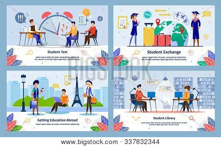 Students Exchange, Education Abroad, College Test, College, University Library Trendy Flat Vector Ba