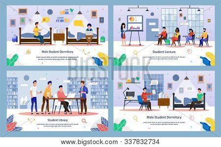 Modern University Or College Students Routine Trendy Flat Vector Banners, Posters Set. Students Char