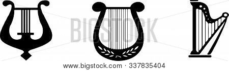 Harp Icon. Music Instrument Symbol. Sound Musical Harp.