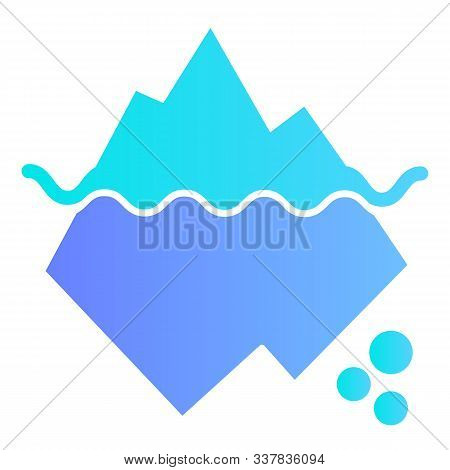Iceberg In Water Flat Icon. Berg Color Icons In Trendy Flat Style. Antarctic Landscape Gradient Styl