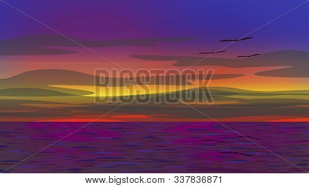 Vector Illustration Of The Twilight Sea. It Is Sunset Time. The Sky Has Various Color Lights. The Se