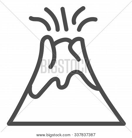 Volcano Line Icon. Magma Erupting Vector Illustration Isolated On White. Nature Outline Style Design