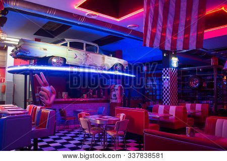 Florence, Italy - June 14th, 2019: 1950 American Diner Restaurant Interior.