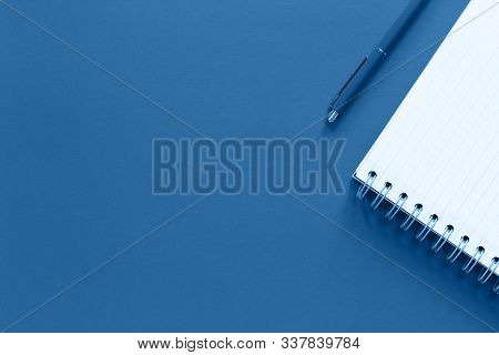 Assorted Office And School White And Blue Stationery And Notepad On Pastel Trendy Background As Bord