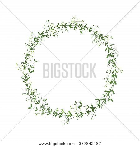 Wreath Template With Green Leaves, Branches, Berries. Vector Border Design For Greetings, Logos, Ban