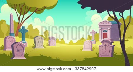 Cemetery Day Landscape, Tombstone With Rip Inscription, Cartoon Vector. Gravestones With Cross, Obel