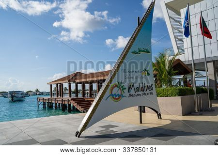 Male, Maldives - November 22, 2019: Welcome Sign To The Maldives At The Velana International Airport