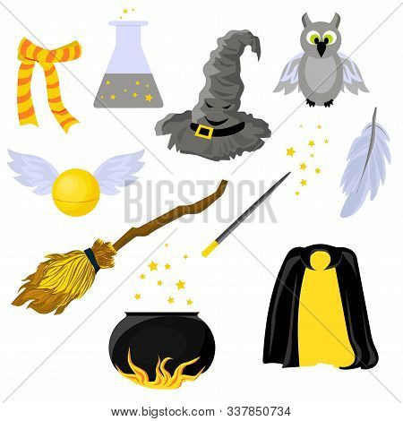 Set Of Stickers On The Theme Of Harry Potter And Magic. Hogwarts. School Of Magic. Mantle Of Invisib