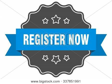 Register Now Blue Label. Register Now Isolated Seal. Register Now