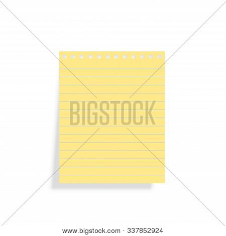 Vector Illustration Of Yellow Lined Block Note Sheet. Empty Page With Copy Space Isolated On White.