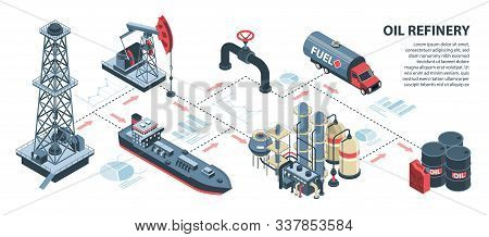 Isometric Oil Petroleum Industry Horizontal Infographics With Isolated Images Of Infrastructure Elem