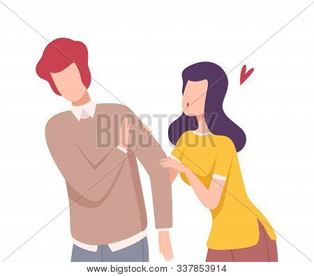 Young Man Rejecting Feelings of Loving Girl, Male and Female Characters Experiencing Unrequited Love, One Sided or Rejected Love Flat Vector Illustration poster