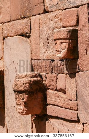 Side View Of Detailed Stone Head Totem On Kalasayaya Temple Wall, Pumapunku, Tiwanaku, Bolivia