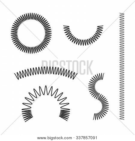 Metal Spring. Spiral Flexible Wire. Metal Spiral. Coil Set. Jump Compression Icon Isolated Illustrat
