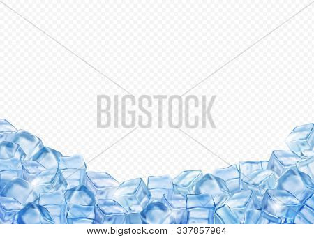 Ice Cubes, Realistic 3d Vector Background. Blue Ice Transparent Blocks Surround Empty Space