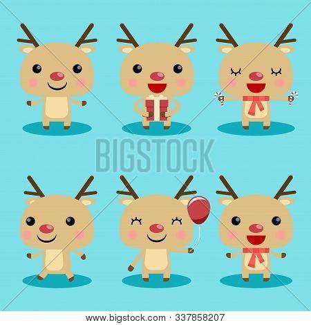 Reindeer Cute Characters Set Christmas. Christmas Reindeer Characters. Cute Reindeer With Gift Vecto