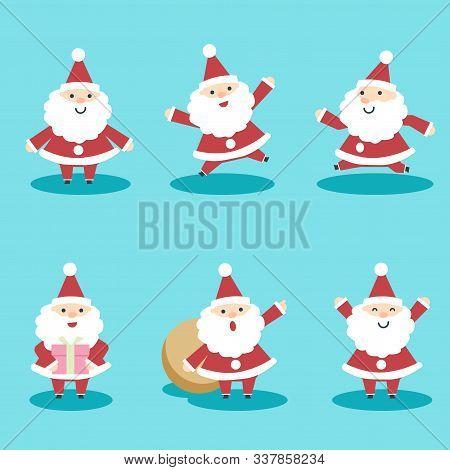 Santa Claus Cute Characters Set Christmas. Christmas Santa Claus Characters. Cute Santa Claus With G