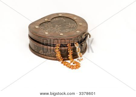 Jewelry Box Woth Amber Necklace