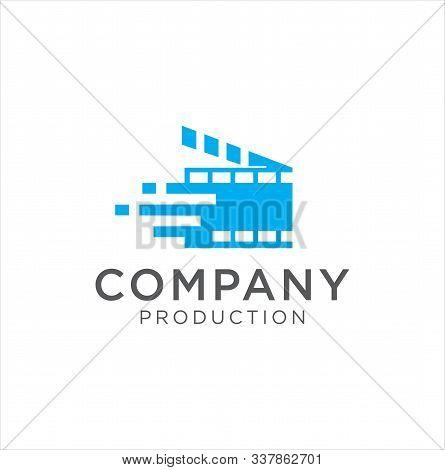 Cinema Logo Movie Emblem Template . Movie Production Logo .film Camera Logo Template . Film Strip Ci