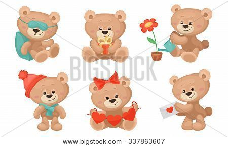 Cute Teddy Bear Collection, Sweet Animal Cartoon Character In Different Situations Vector Illustrati
