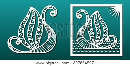 Laser Cut Template. Fantasy Boat, Sea Waves. For Wood Or Metal Cutting, Engraving, Fretwork, Paper A